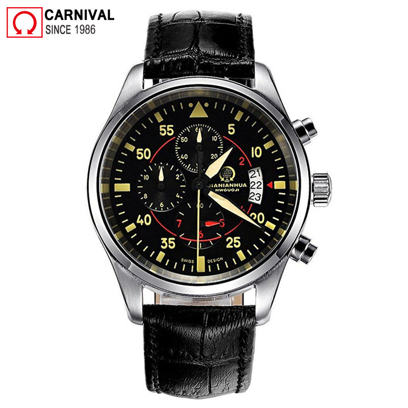 Carnival Pilot Mens Watches Top Brand Luxury Sport Chronograph Quartz Watch Men Wristwatch Male Clock Man Xfcs relogio masculino mens watches top brand luxury jedir quartz watch chronograph luminous clock men military sport wristwatch relogio masculino