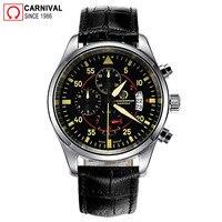 Carnival Pilot Mens Watches Top Brand Luxury Sport Chronograph Quartz Watch Men Wristwatch Male Clock Man Xfcs relogio masculino