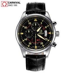 Karnawał Pilot męskie zegarki Top marka luksusowy Sport zegarek chronograf kwarcowy mężczyźni zegarek męski zegar człowiek Xfcs relogio masculino