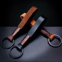 Top Grade Handmade Real Leather Cowhide Rope Keychain Metal Key Chains Men Or Women Key Holder