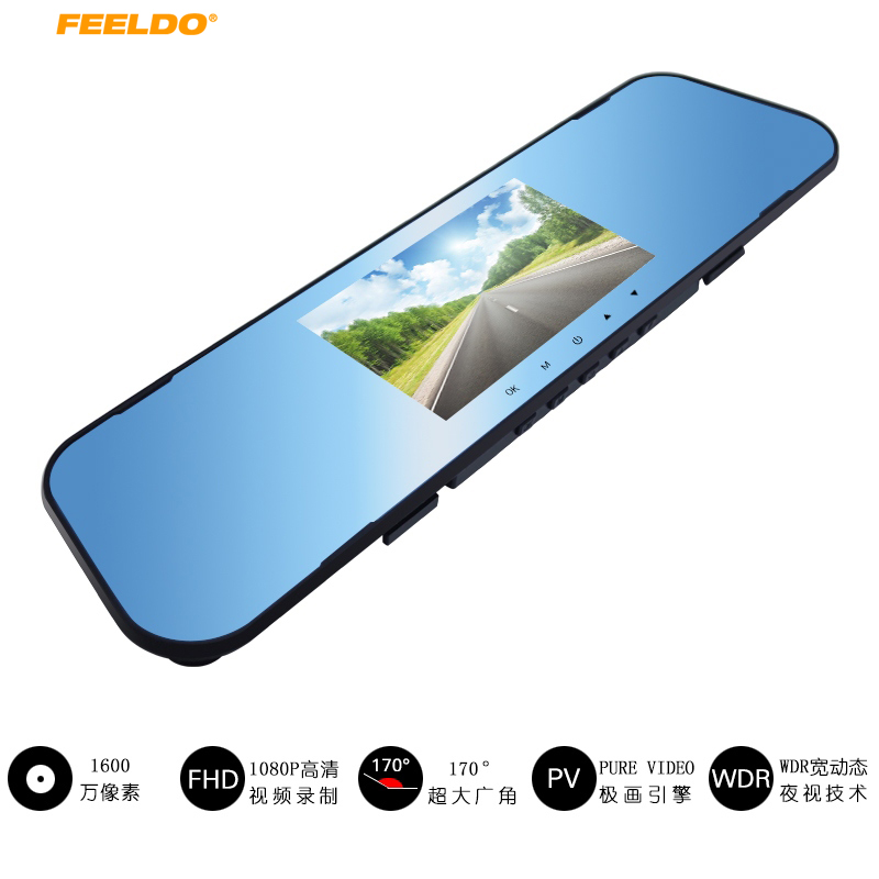 Car DVR Registrator Rearview-Mirror Parking-Video-Recorder Dash-Camera Dual-Lens Night-Vision
