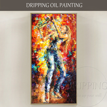 Excellent Artist Pure Hand-painted High Quality Textured Knife Painting Lady with Saxophone Oil for Friend Unique Gift