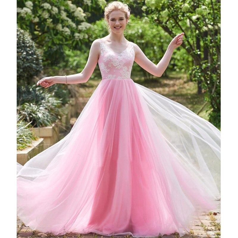 Baratos 2017 hermosa rosa de dama de honor larga vestidos de encaje ...
