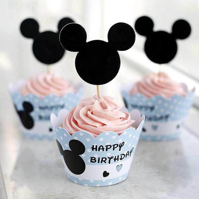 24pcs Minnie Mickey Mouse Cão Envoltórios Do Queque Bolo de Casamento Topper Escolher Crianças Festa de Aniversário Do Bebê Chuveiro Decoração Suprimentos Presente