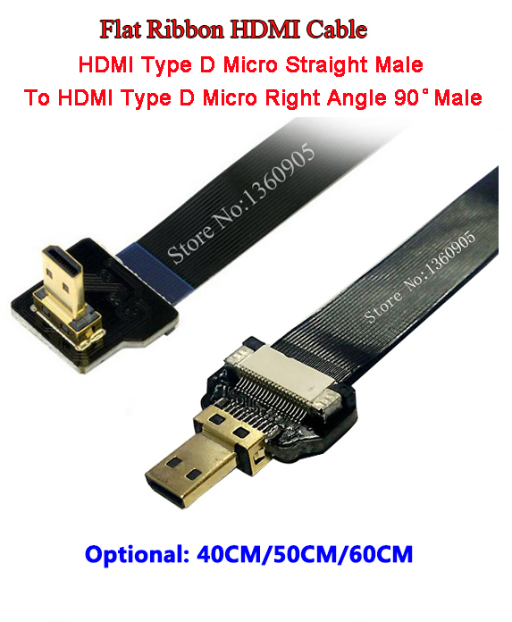Ultra Thin Micro HDMI Straight Male To Micro (Type D) Right Angle Male Flat Ribbon FPV Cable- 40CM/50CM/60CM Optional