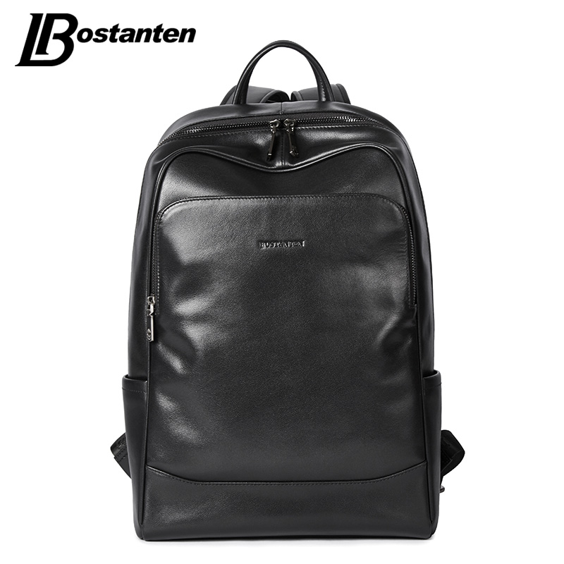BOSTANTEN Leather Backpack Male Large Travel Backpacks Schoolbag Business 13 14 15 inch Laptop Backpack Anti Theft Computer Bag чайник эмалированный со свистком 2 0 л стальэмаль луговые цветы 4с210я