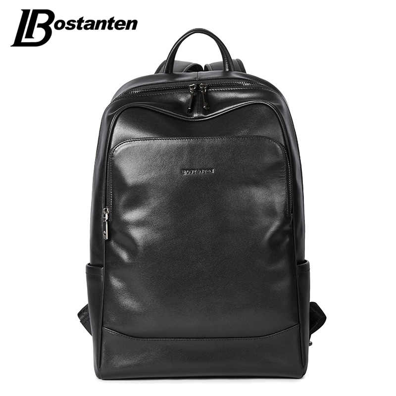 a09493bf0 BOSTANTEN Leather Backpack Male Large Travel Backpacks Schoolbag Business  13 14 15 inch Laptop Backpack Anti