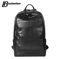 BOSTANTEN Leather Backpack Male Large Travel Backpacks Schoolbag Business 13 14 15 inch Laptop Backpack Anti Theft Computer Bag