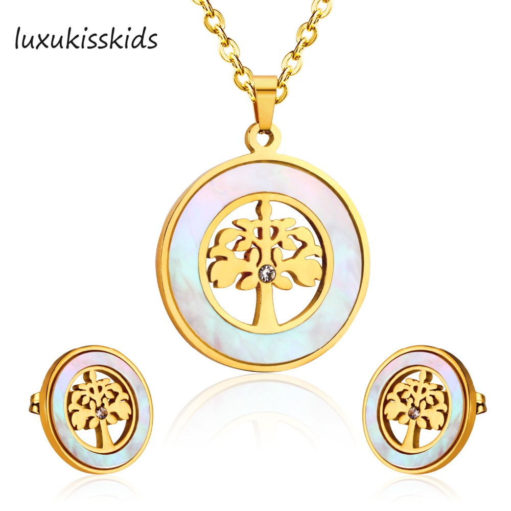 LUXUKISSKIDS Stainless steel Shell Jewelry set Round Shape Around Tree Necklace Earring Sets For Christmas Tree Gift engraved life tree round jewelry set