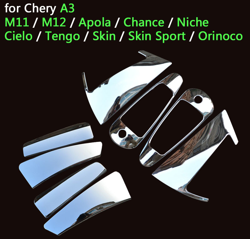 For Chery A3 M11 Accessories Chrome Door Handle M12 Apola Chance J3 Niche Cielo Tengo Skin Sedan Hatchback Car Styling Stickers