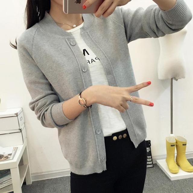 Venta caliente Moda Casual Mujer Primavera Otoño Suéteres Cardigan de Manga Larga Corta de Punto Cardigan 2016 Nuevo Femenina M001