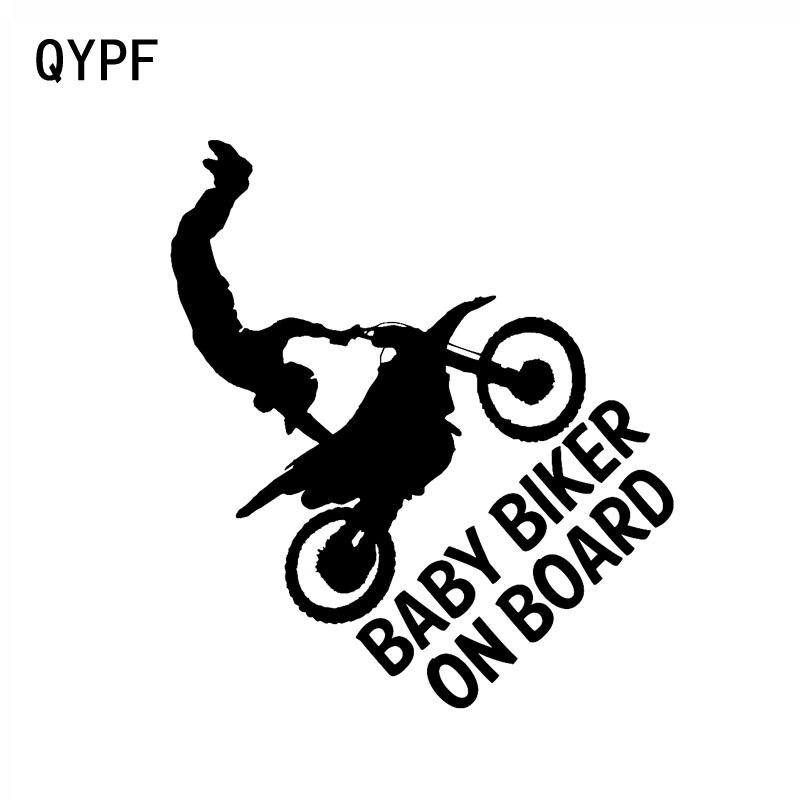 QYPF 13.2CM*15CM BABY BIKER ON BOARD Vinyl Car Motorcycle Sticker Decal Black Sliver C14-0248