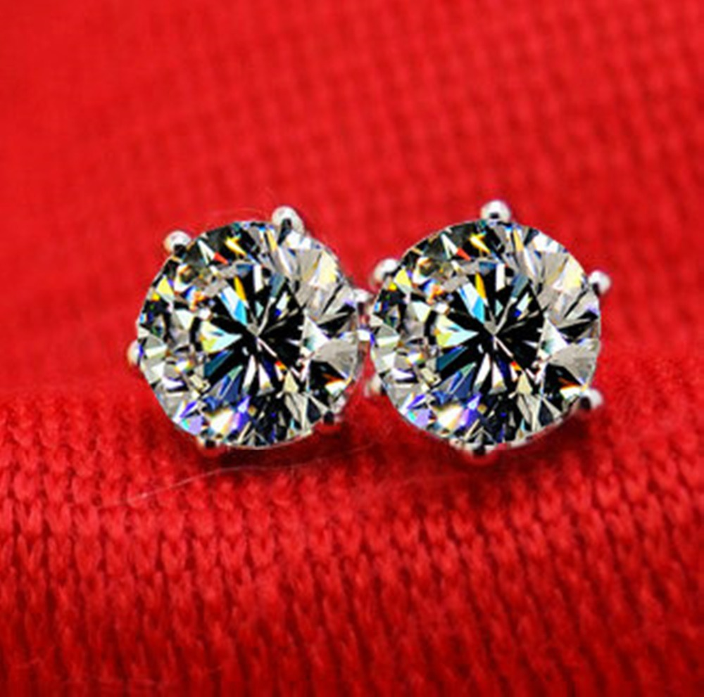 in simulate gift white for solid diamond quality jewelry round item gold from piece stud women cut earrings luxury synthetic best