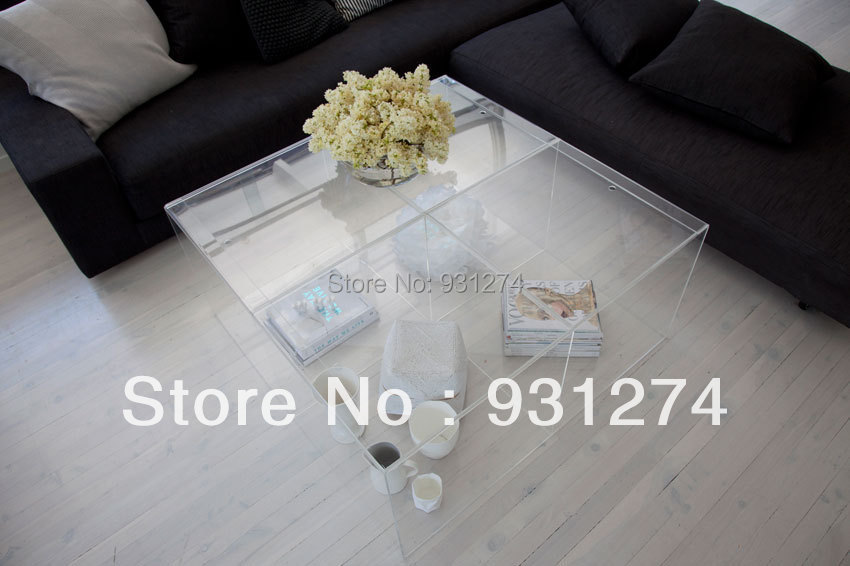 Modern Acrylic Coffee Table/Lounge Room Coffee Table/Perspex Side Table/Acrylic Furniture hot sale c shaped waterfall acrylic occasional side table