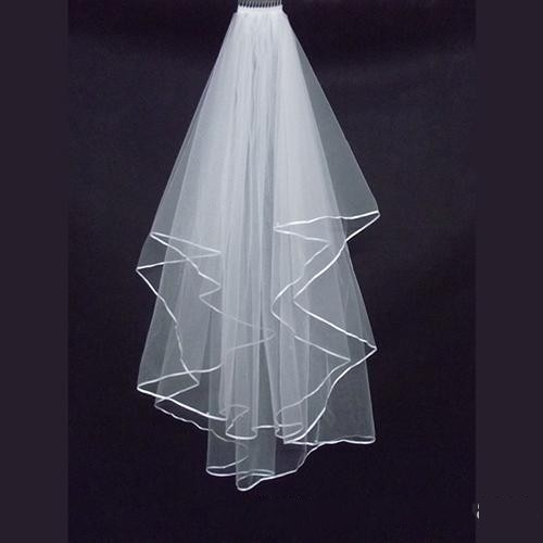 Cheap Simple White Ivory Two Layers Tulle Short Bride Wedding Veil With Comb Ribbon Edge Bridal