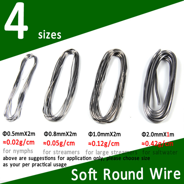 SS S M L Size Soft Round Fly Tying Lead Wire Nymph Body Weight Thread Streamer Weight Line Saltwater Fly Tying Material