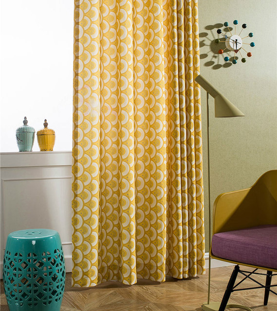 Bedroom Curtains Pastoral Printed Window Decoration Polyester Cotton Curtain Fabrics Yellow For KitchenA306