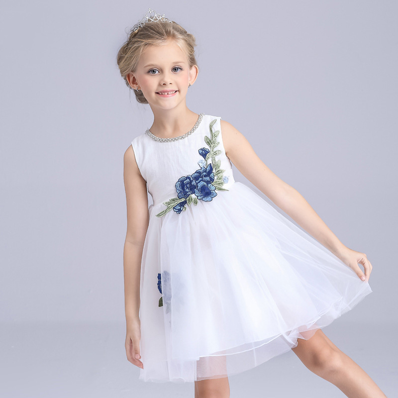 White Flower Girl Dresses With Embroidery Lace Costume Royal Blue