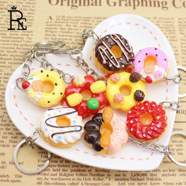 RE 100 unids/lote creativo lindo Donut Squishy Smiley panes joyas llavero Emoji cadenas de resina de Carto