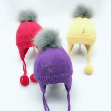 f8fe4ada0b8 Set Baby Hat Scarf Winter Fur Ball Knitted Warm Newborn Beanie Solid Color  Protect Ear Cap