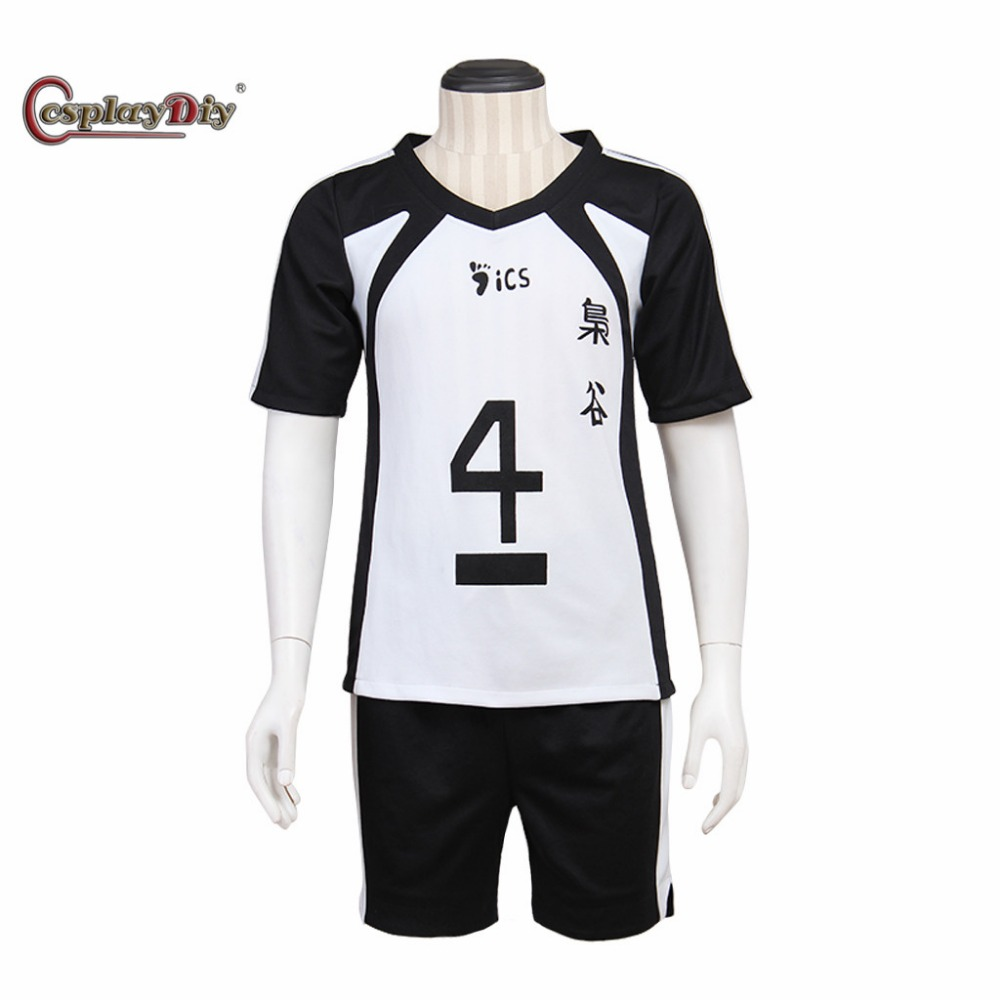 CosplayDiy Haikyuu!! Fukurodani Academy Volley Cosplay Costume Black White Uniform Bokuto Kotaro Sports Clothing Full set