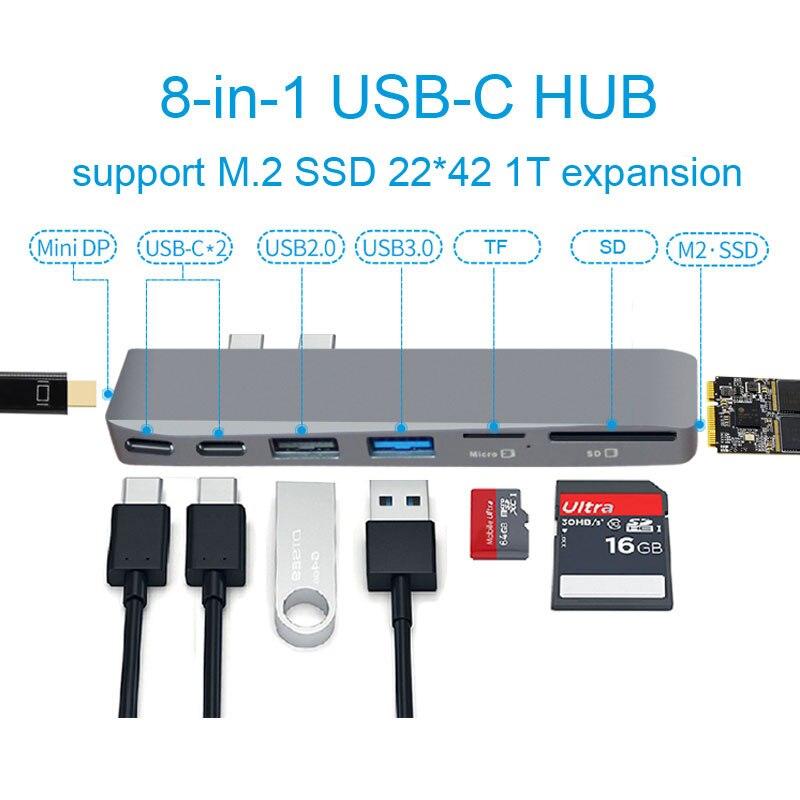 Double USB-C Hub à Mini Display Adapter 5 k 60 hz soutien SSD d'expansion avec PD/Données TF SD lecteur Slot USB 2.0/3.0 pour MacBook Pro