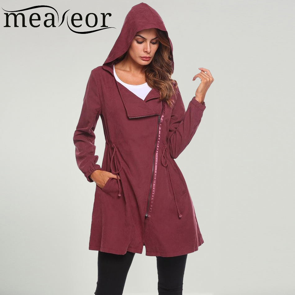 Meaneor Brand Women   Trench   Coat Hooded Hoodie Oblique Zipper Drawstring Long   Trench   Coats Outerwear Windbreaker 2019 New Tops