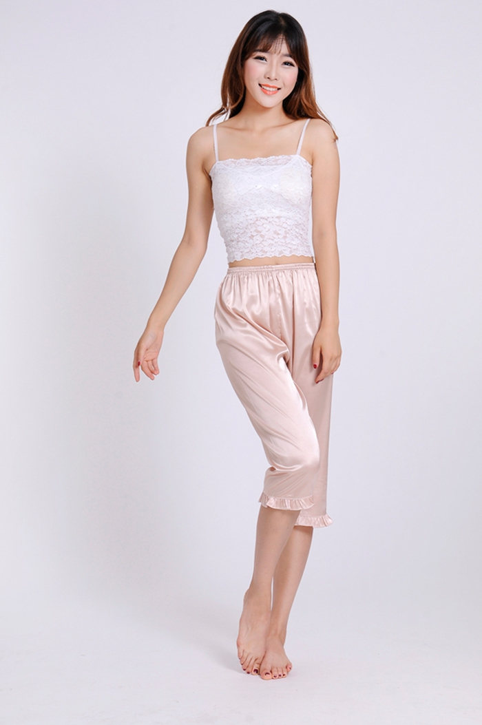Candy Color Summer Women Slim Calf-Length Elastic Waist Stain Fabric Sleep Pants Female Trendy Ruffled Hem Lounge Bottom