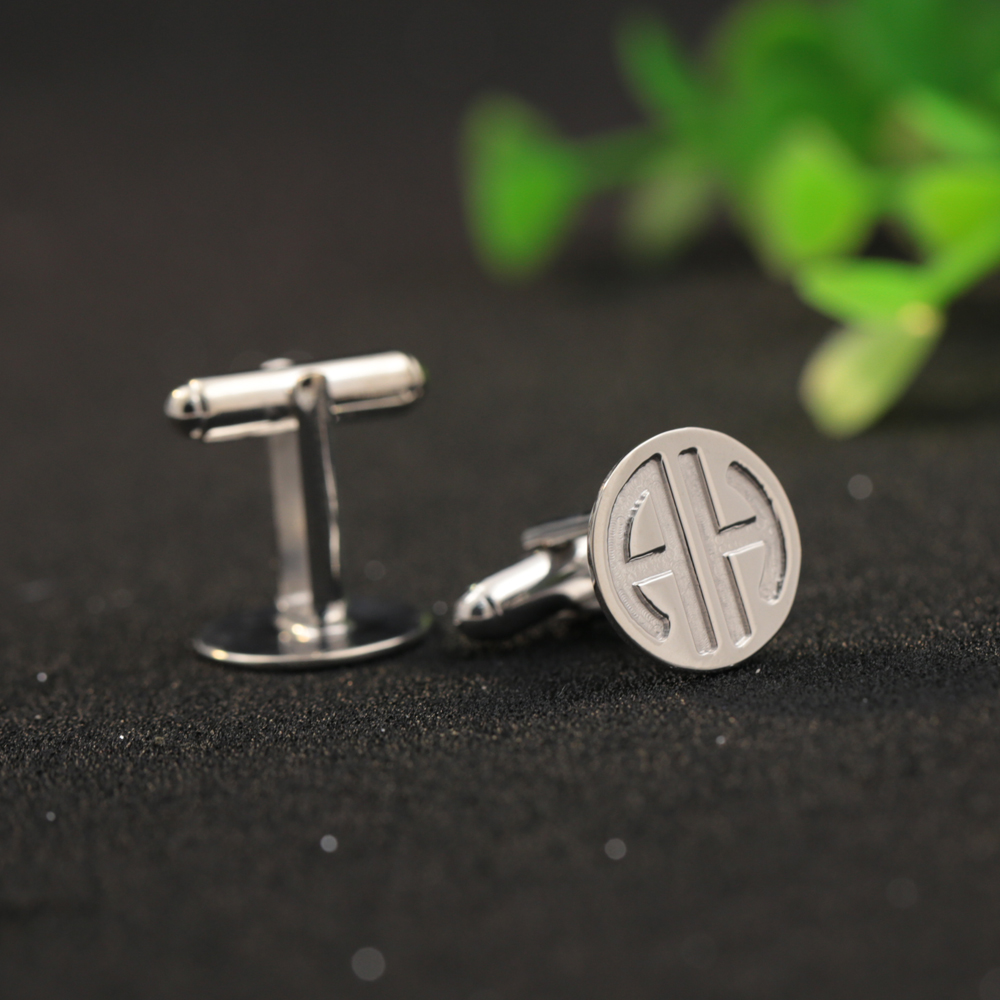 Wedding Groom Gift Engraved 2 letters Monogram Men Cufflinks Customized 2 Initials Stamped Solid Silver Cufflinks