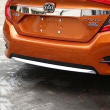 Car ABS Chrome Front Rear Bumper Lip Grill Cover Insert Protector Molding Trims 3Pcs For Honda Civic 10th 4Door Sedan 2016 2017