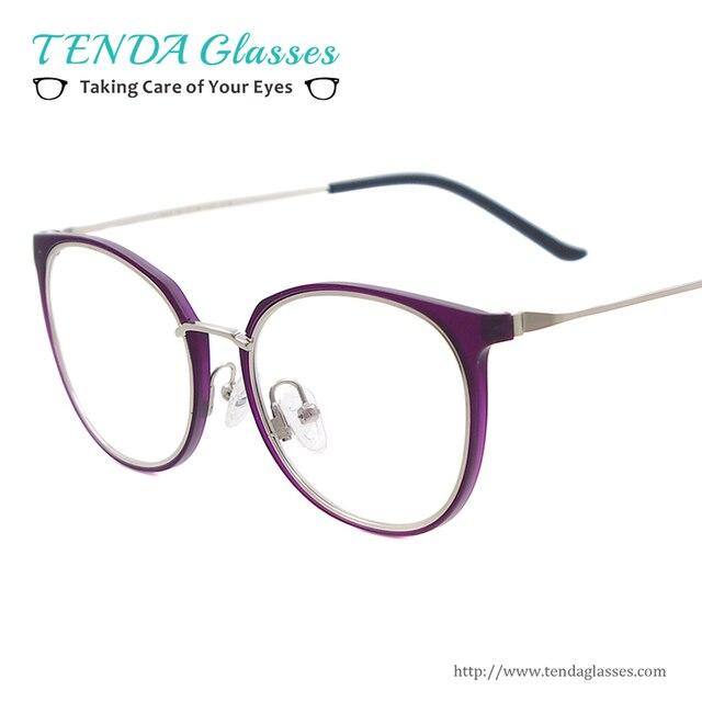 Mulheres Moda Óculos Redondos de Plástico Óculos De Metal Para a Prescrição  de Lentes de Grau 3ccf46f730
