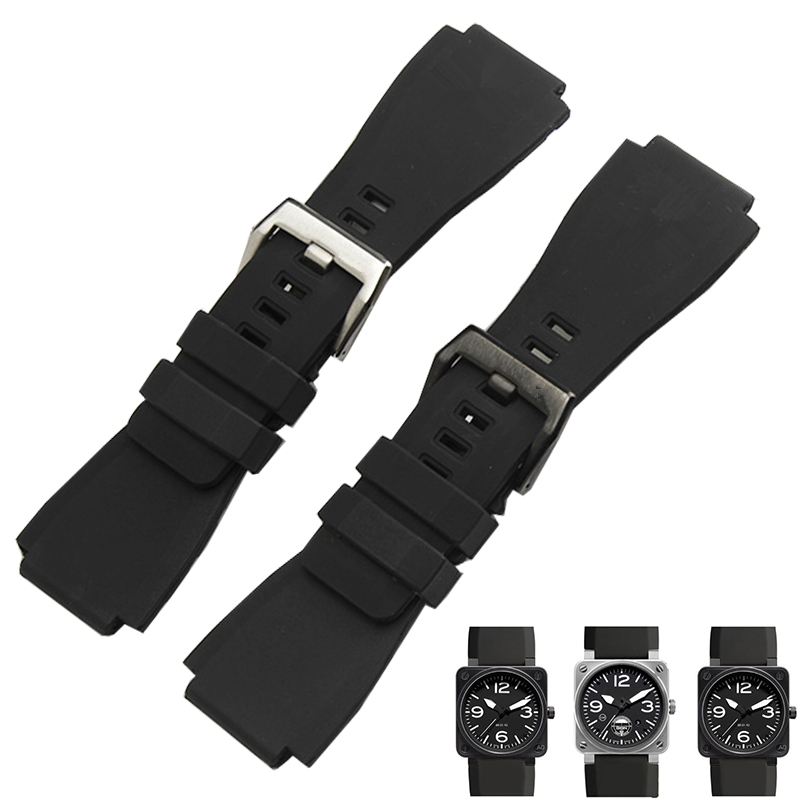 TJP Black 34 * 24mm Mens Waterproof Diving Rubber Watch Strap Silicone Watchbands Replace Bell Bracelet Ross BR01 BR03 Buckle party dress tutu tulle kids clothes long sleeve cute princess girl children clothing girl dresses for party 8 years 12 14 10 6