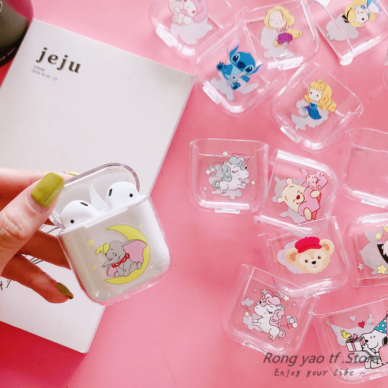 Cartoon For AirPods Case Bluetooth Wireless Earphone Protective Cover Cute Transparent Hard Case For Apple Airpods Charging Bags