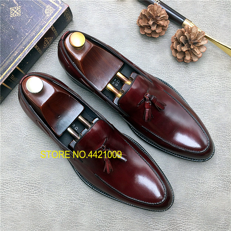 Tassels Mens Wine Red Black Dress Wedding Oxfords Slip On Spring Autumn Office Businessman Formal Oxfords Shoes Mocassion Flats belgium culture smart