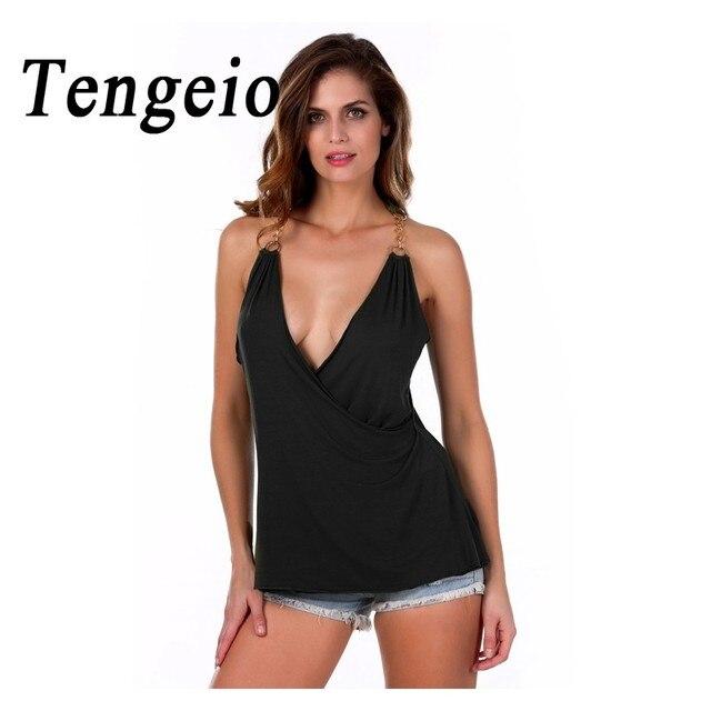 Verano Sexy Club de Espagueti Floja Mujeres de Profundo Escote en v Camisolas tramo Chaleco Delgado Ocasional Irregular T Shirt 4 Colores 3 a.m.