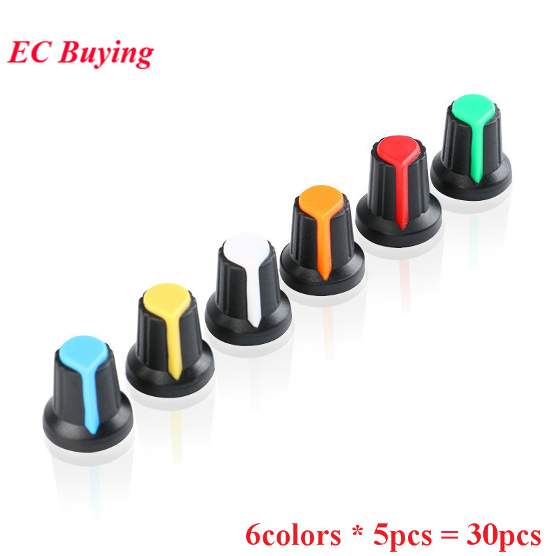 30Pcs/lot WH148 Potentiometer Knob Cap 6mm Shaft Hole Yellow Orange Blue White Red Green Color Colorful 6value*5PCS=30PCS