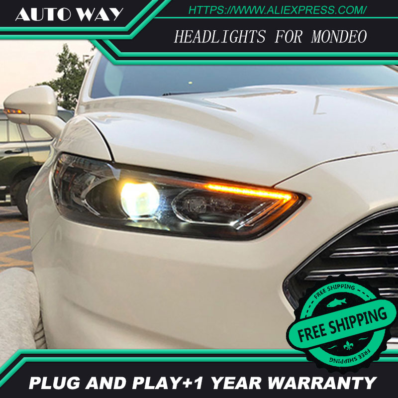 car styling Case For Ford Mondeo 2013-2016 Headlights Mondeo Headlights LED light bar DRL Q5 bi xenon lens h7 xenon electric car motorcycle 15w led headlights modification lens light 12 60v