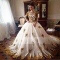 Великолепная Бальное платье Золото Аппликация Кружева Свадебные Платья 2016 С Кристально Свадебные Платья Суд Поезд Длинные Seeves Vestido де noiva