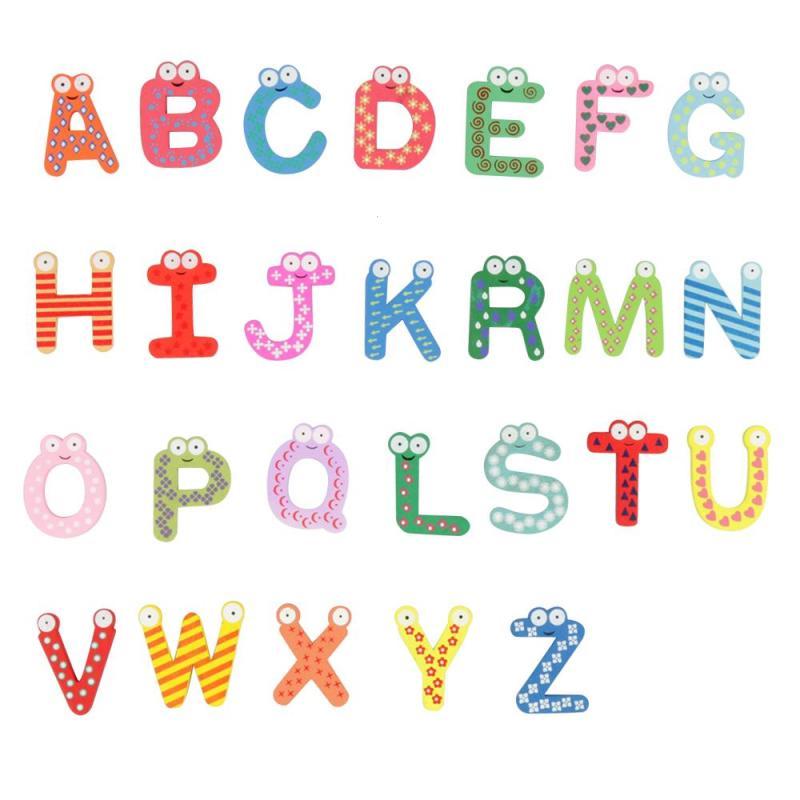 26 Алфавит магнит на холодильник набор деревянных мультфильм магниты для детей Обучающие игрушки подарок F