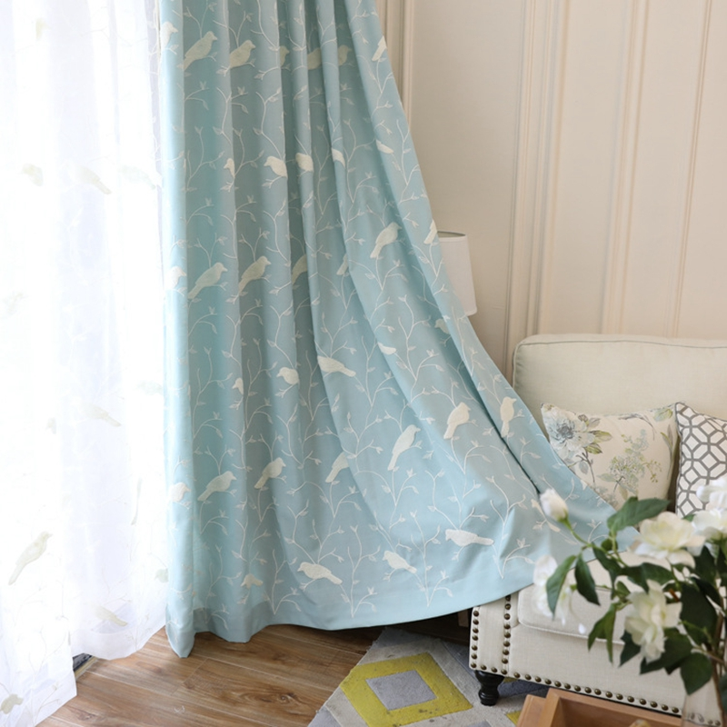 Modern cotton linen embroiedered curtain cloth and voile tulle Blue bird sheer window drapes for bedroom wholesale WP004 30 in Curtains from Home Garden