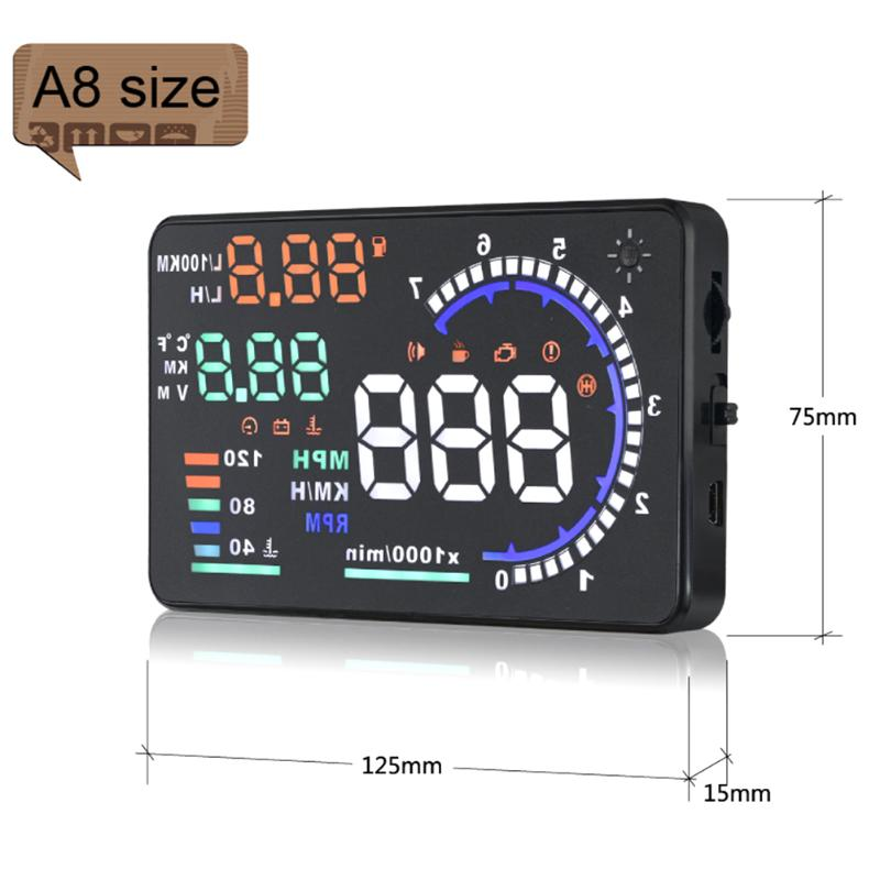 A8 Size 5.5 inch A8 High Definition HUD Head-up Display OBD2 EUOBD Projector
