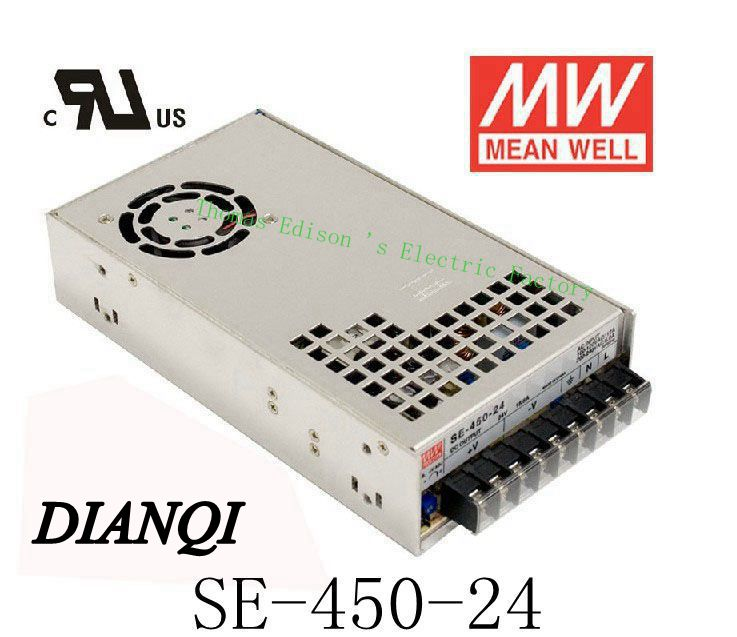 Original MEAN WELL power suply unit ac to dc power supply SE-450-24 450W 24V 18.8A MEANWELL original meanwell 12v 37 5a 450w se 450 12 switching power supply ac to dc 12v transformer 2 years warranty
