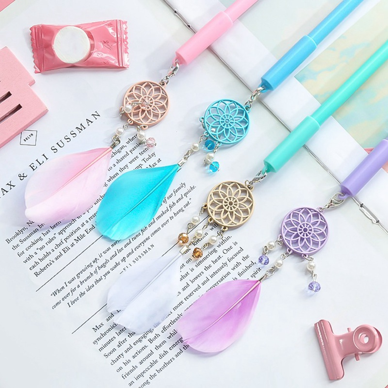 1PC Cute Dream Catcher Gel Pens Creative Feather Pens Kawaii Pendant Neutral Pen For Kids Gift School Office Supplies Stationery
