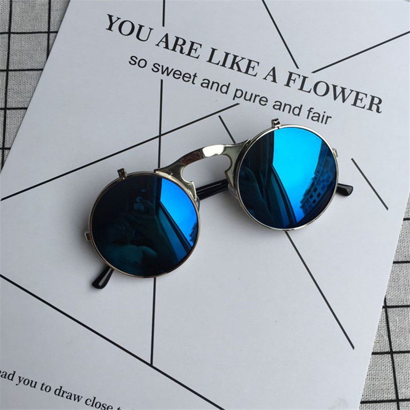 f4f12826011 LATASHA Flip Up Steampunk Sunglasses Men Round Vintage Mens Sunglass Brand  Designer Fashion Glasses UV400