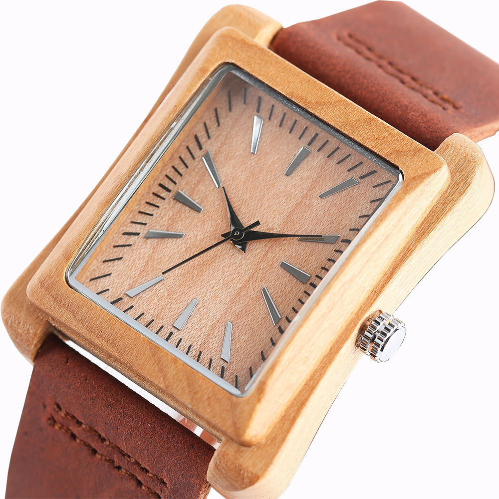 Special Watch Men Nature Log Wooden Rectangle Quartz Wristwatches Modern Genuine Leather Strap Wood Casual Bamboo Women Clock fossil georgia es3060