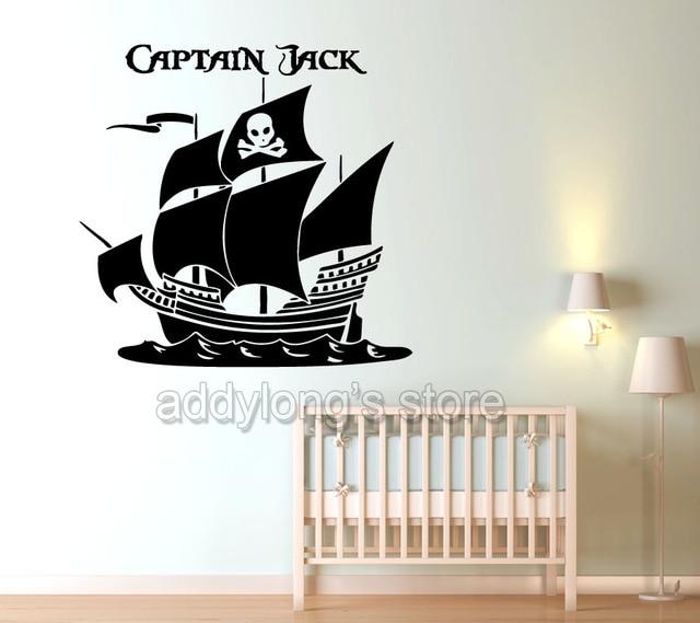 US $7.37 10% di SCONTO|Capitano Pirati Personalizzato Personalizzati Nome  wall sticker camera da letto pirati nave adesivi personalizzati ragazzi ...