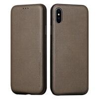 IPhone için Flip Case X Deri Kart Yuvası Telefonu çanta Tam kapsama Koruyucu iPhone X Lüks Kılıf için Kapak funda çapa 10