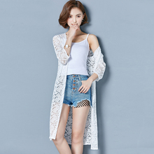YICIYA Women summer Cover Up whiter beach long jacket lace sexy coat cardigan plus size clothing see through sunscreen top 2019