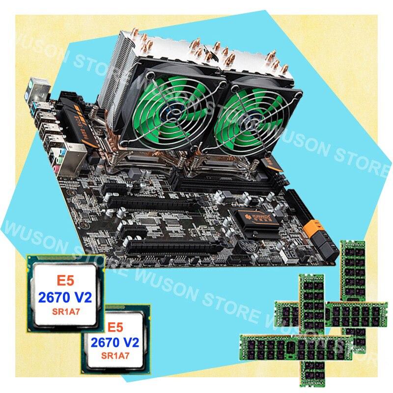PC hardware di alimentazione HUANAN ZHI dual CPU X79 LGA2011 scheda madre 64g di RAM REG ecc Dual CPU Intel Xeon E5 2670 V2 SR1A7 con dispositivi di raffreddamento