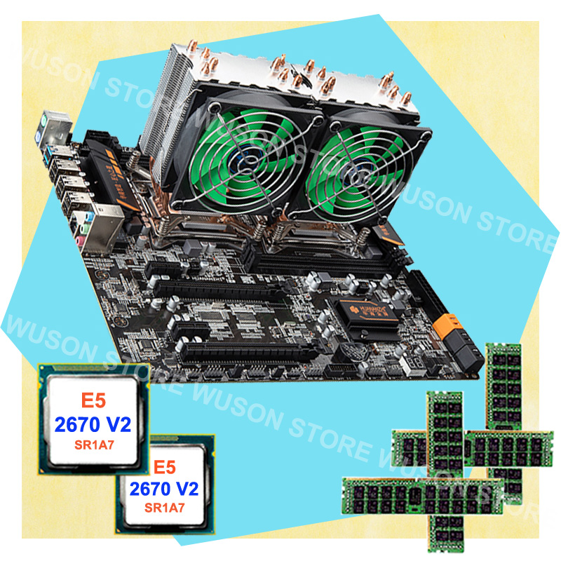 PC Hardware Supply HUANAN ZHI Dual CPU X79 LGA2011 Motherboard 64G RAM REG ECC Dual CPU Intel Xeon E5 2670 V2 SR1A7 With Coolers